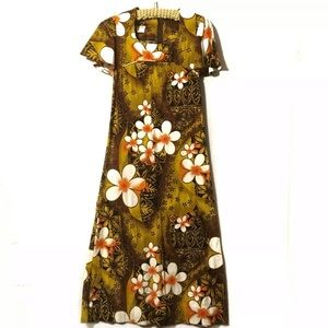 Vintage Hawaiian dress brown peach gold floral 8